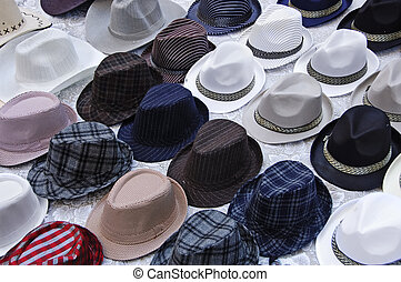 hats - a pile of hats ready to sell
