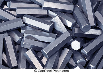 A pile of hexagon metal details
