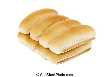 A pile of hotdog bun lying on a white background