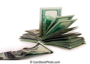 A pile of hundred-dollar bills and the old bill isolated on a white background