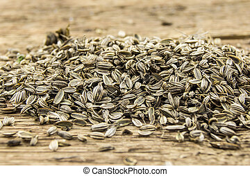 A pile of marigold seeds is ready to plant in a spring garden on wooden background