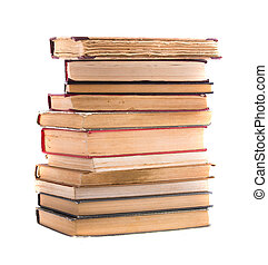 A pile of old books, isolated on white background.
