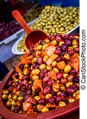 A pile of olives on the market in medina, Morocco