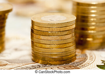 A pile of Polish coins