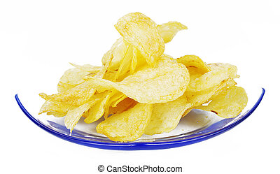A pile of potato chips on plate