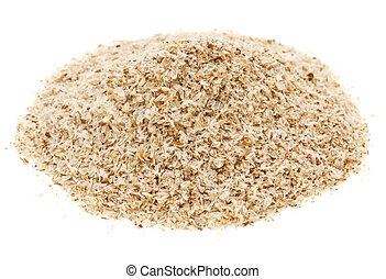 a pile of psyllium seed husks, dietary supplement, source of soluble fiber