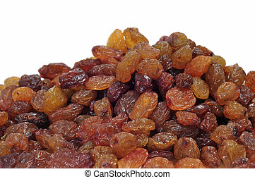 a pile of raisins isolated on a white background