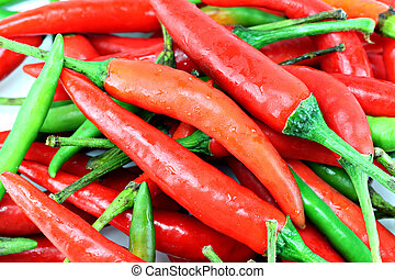 a pile of red chillies.