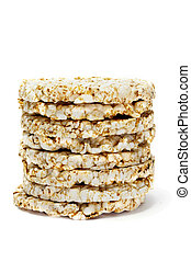 rice cakes - a pile of rice cakes isolated on a white ...