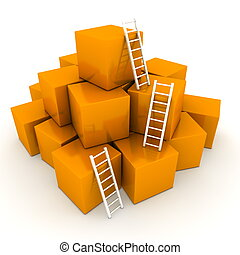 a pile of shiny orange boxes - three bright white ladders are used to climb to the top