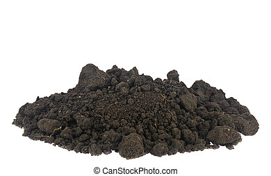 A pile of soil, soil isolated on a white background close-up.