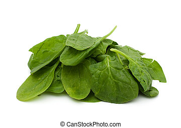 Super Food Spinach - A pile of spinach isolated on white, ...