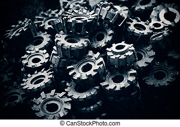 machine parts - a pile of steel machine parts, vintage