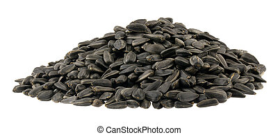 A pile of sunflower seeds isolated on a white background.