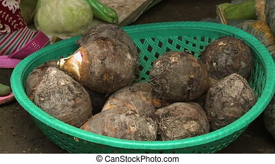 A steady closeup shot of a stack of taro, a tropical root vegetable, inside a plastic green woven basket as the local vendor picks up and inspect it.