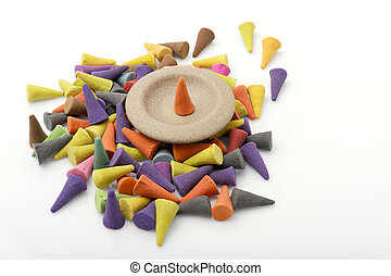 A pile of the incense cones.
