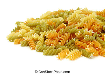 a pile of uncooked fusilli isolated on a white background
