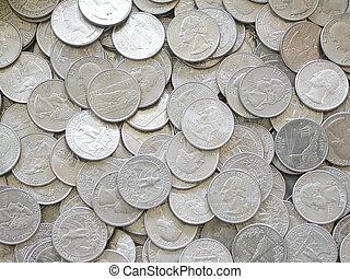 Quarters - a pile of United States Quarters