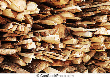 A pile of waste wood
