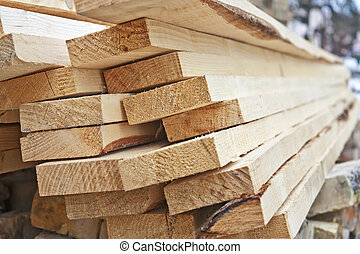 A pile of wooden planks