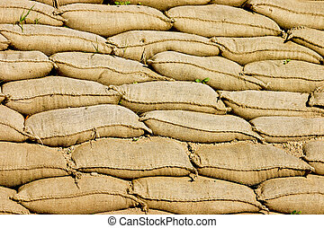 A Pile or Wall of Sandbags