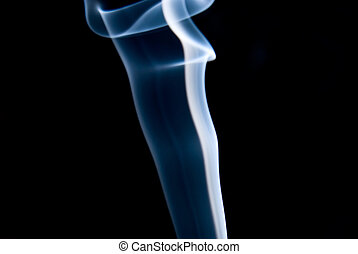 A pillar of blue smoke on a black background