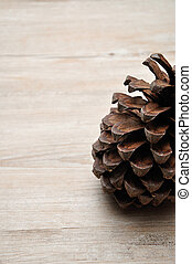 A pine cone on a wooden background