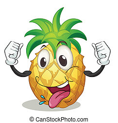 a pineapple - illustration of a pineapple on a white...