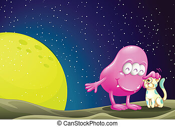 A pink beanie monster pacifying the cat in the outerspace
