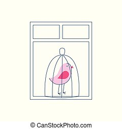 A pink bird in a cage stands by the window.