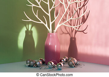 A pink bottle with white plastic branches imitating deer antlers