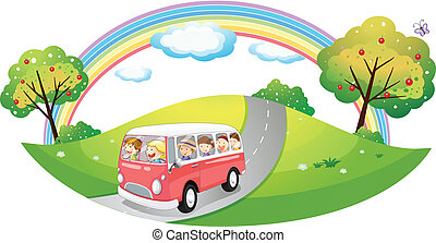 Illustration of a pink bus with passengers on a white background