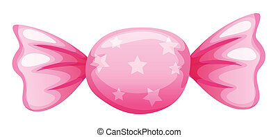 a pink candy - illustration of a pink candy on a white...