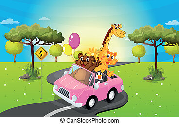 A pink car travelling with animals