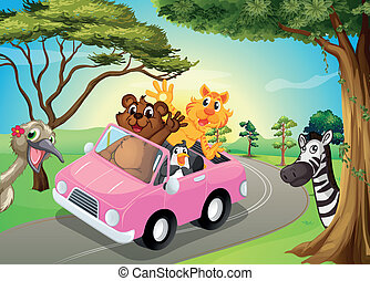 A pink car with animals
