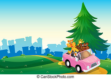 A pink car with animals running at the hilltop