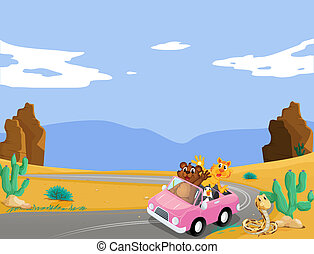 A pink car with animals travelling