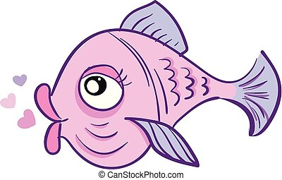 A pink-colored love fish with heart shape bubbles over white background vector or color illustration