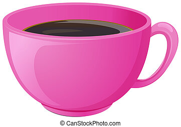 A pink cup with coffee