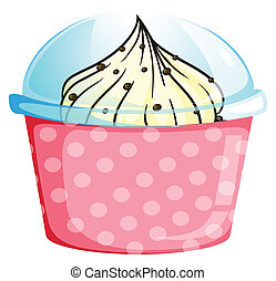 A pink cupcake container with a cupcake