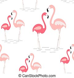 A pink flamingo seamless pattern. Exotic tropical bird - Vector