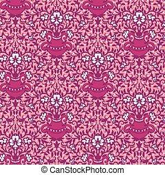 pink flower vases ornamental seamless vector pattern