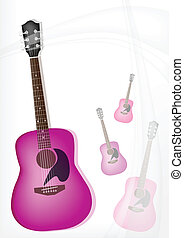 A Pink Guitar on Modern Elegance Background - Music...