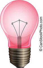 A pink light bulb