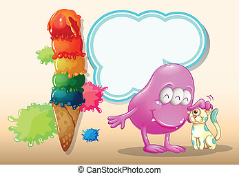A pink monster and a cat near the giant icecream