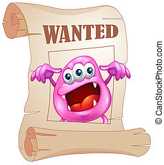 Illustration of a pink monster in a wanted poster on a white background