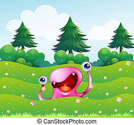 A pink monster near the pine trees
