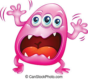 Illustration of a pink monster shouting because of frustration on a white background