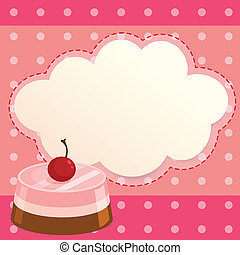 A pink paper note with a cake - Illustration of a pink paper...