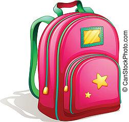 A pink schoolbag - Illustration of a pink schoolbag on a...